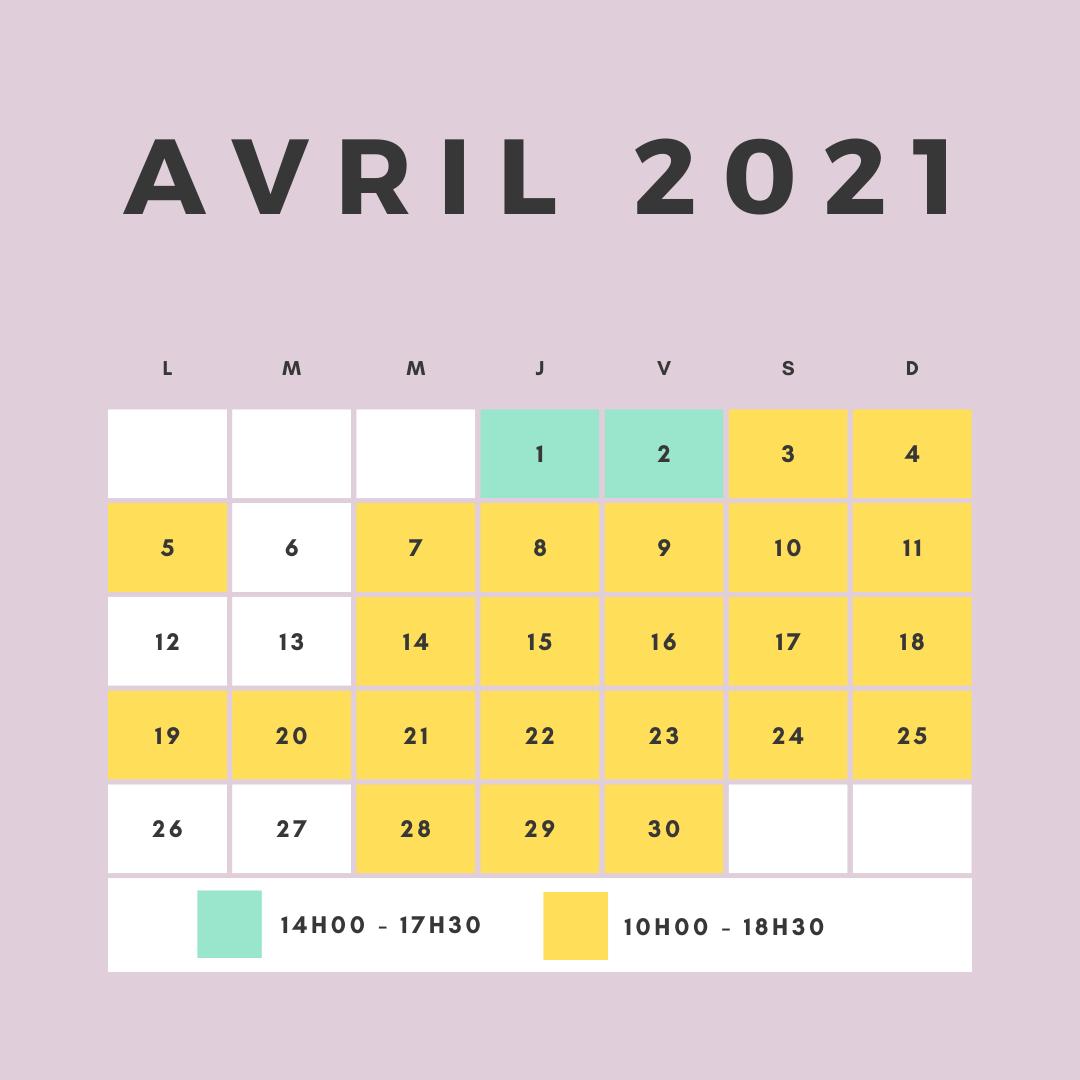 horaires d'ouverture du circuit pour le mois de Avril