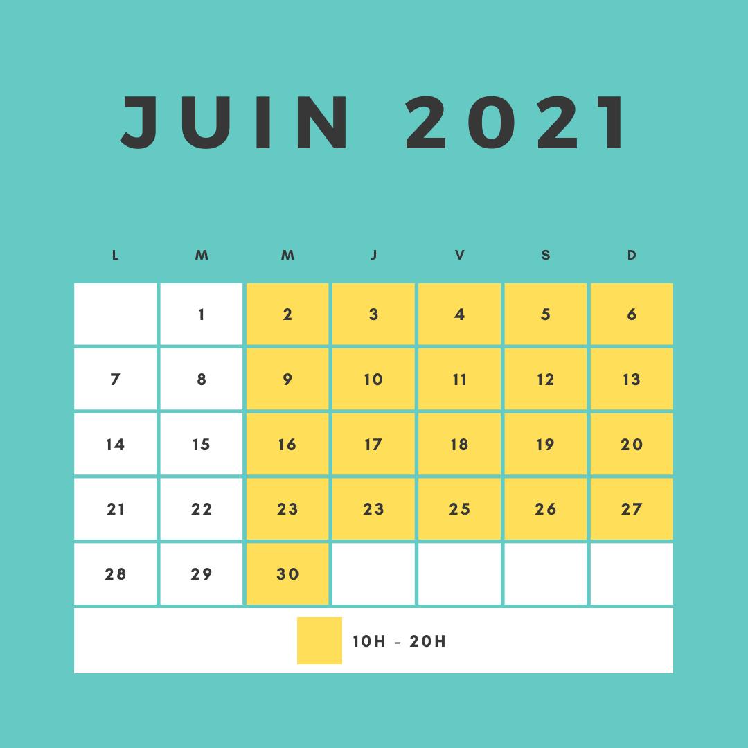 horaires d'ouverture du circuit pour le mois de Juin