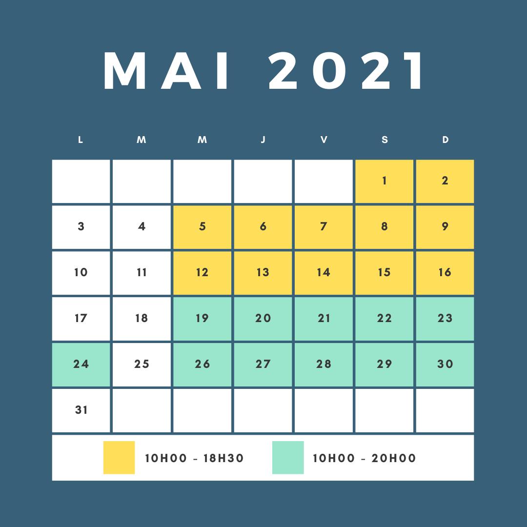 horaires d'ouverture du circuit pour le mois de Mai
