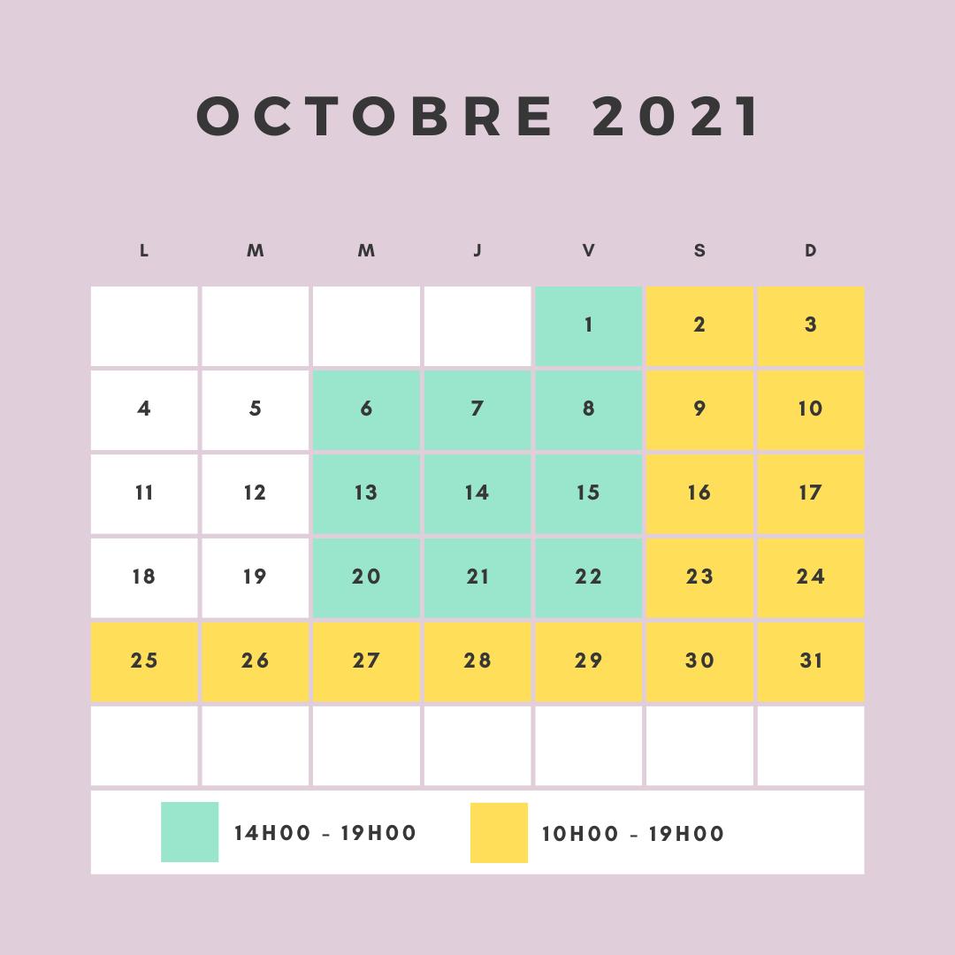 horaires d'ouverture du circuit pour le mois de Octobre