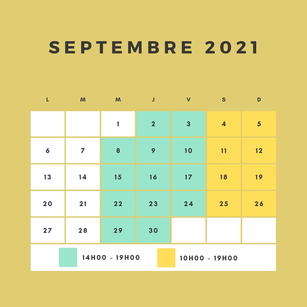 horaires d'ouverture du circuit pour le mois de Septembre